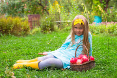 Little beautiful girl with basket of red apples Stock Photography
