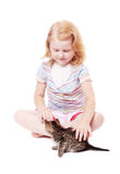 Little beautiful  girl  with cat Royalty Free Stock Photography