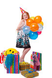 Little beautiful girl celebrate her birthday Royalty Free Stock Image