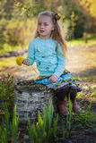Little beautiful girl collects dandelions in the park among blossoming trees. The child with long hair holds in his hand a bouquet Stock Photography