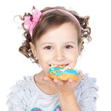 Little beautiful girl with donuts over white Royalty Free Stock Photo