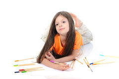 Little beautiful girl draws pencils. Stock Photo