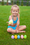 Little beautiful girl holding an Easter egg Stock Image