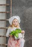 Little beautiful girl holding a pot full of vegetables. Healthy food. Harvest. Little housewife Stock Image