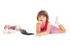 Little Beautiful Girl Is Playing With Make-up Royalty Free Stock Photography