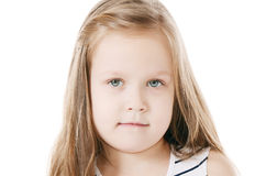 Little beautiful girl with long hair royalty free stock photos
