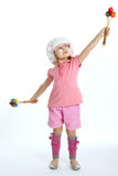 Little beautiful girl with maracas Stock Photography