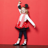 Little beautiful girl with mouse mask Royalty Free Stock Photo