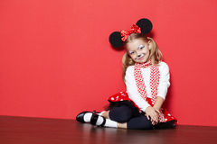Little beautiful girl with mouse mask Stock Photography
