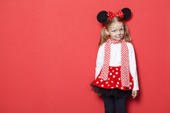 Little beautiful girl with mouse mask Royalty Free Stock Photos