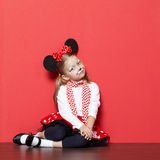 Little beautiful girl with mouse mask Stock Images