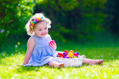Little Beautiful Girl On Easter Egg Hunt Royalty Free Stock Images