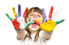 Little beautiful girl and paint Stock Photos