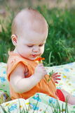 Little beautiful girl smelling orange flower Royalty Free Stock Photography