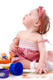 Little beautiful girl with toys Royalty Free Stock Images