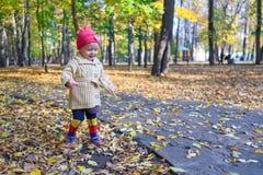 Little beautiful girl walking alone in autumn park Royalty Free Stock Photo