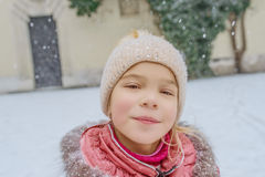 Little beautiful girl walks in Wawel, Krakow Royalty Free Stock Photos