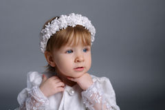 Little beautiful girl in wedding dress Royalty Free Stock Photography