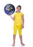 Little beautiful girl in yellow with Earth ih hand Stock Photography