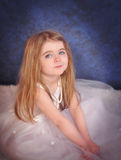Little Beautiful Glamour Girl in White Dress Royalty Free Stock Photography