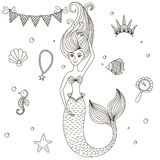 Little beautiful mermaid. Black vector outline isolated on white background. Coloring Book. Drawn by hand. Each object is grouped and isolated Royalty Free Stock Image
