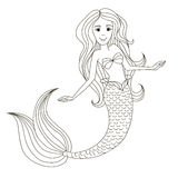 Little beautiful mermaid. Vector illustration. Isolated outline on a white background. Drawn by hand Stock Photography