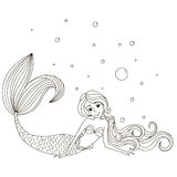 Little beautiful mermaid. Vector illustration. Isolated outline on a white background. Drawn by hand Royalty Free Stock Photos
