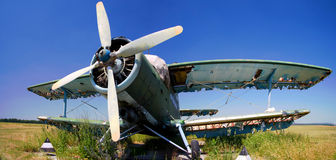 Little beautiful old aircraft. Background sky Royalty Free Stock Photography