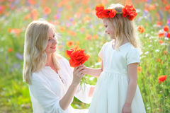 Little beautiful pretty girl giving a flowers to her happy mothe. The Little beautiful pretty girl giving a flowers to her happy mother - outdoors Royalty Free Stock Photography