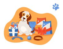 Little beautiful puppy, among the mountains of various gifts. Caring for puppy, dog pet. Little beautiful puppy, among the mountains of various gifts for stock illustration