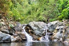 Little beautiful waterfall in the jungle island of Palawan . Royalty Free Stock Photo