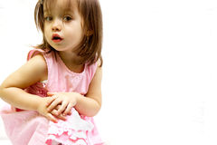 Little beauty. Little toddler girl posed in a pink dress Royalty Free Stock Photo