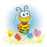 Little bee. Illustration - little bee with bucketful of honey over the flowers Royalty Free Stock Image