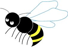 Little Bee. Little flying bee. Vectorial character stock illustration