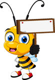 Little bee cartoon holding blank board Stock Photography