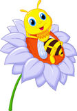 Little bee cartoon resting on the big flower Royalty Free Stock Photos