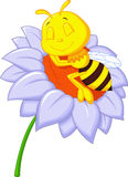 Little bee cartoon sleeping on the big flower Stock Photo