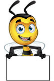Little Bee Character - Holding Blank Board. A cartoon illustration of an cute looking Little Bee Character vector illustration