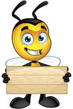 Little Bee Character - Holding Wooden Sign. A cartoon illustration of an cute looking Little Bee Character vector illustration