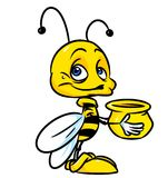 Little bee and honey cartoon Royalty Free Stock Photos
