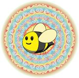 It little bee at rainbow background. It little bee at rainbow psychodelic background with mushrooms and grass vector illustration