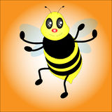 Little bee Vector. On yellow background royalty free illustration