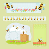 Little bees. Little sympathetic bees and wooden beehive Vector Illustration