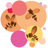 Little bees in fronf of the coloured background. Three little bees in fronf of the coloured background vector illustration