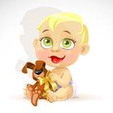 Little behandla som ett barn i en blöja med en flott kanin vektor illustrationer