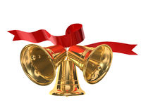 Little bells. 3d illustration of three Christmas bells on white background vector illustration
