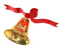 Little bells. 3d illustration of Christmas bell with red ribbon on white background royalty free illustration