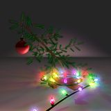Little_bent_xmas_tree_lites. 3D graphic illustration of a bent Christmas tree sapling with a single red tree ornament and Christmas tree lights Stock Images