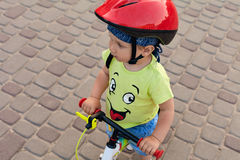 Little bicycle driver royalty free stock images