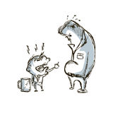 Little big angry boss and manager cartoon sketch hand drawn Royalty Free Stock Photography